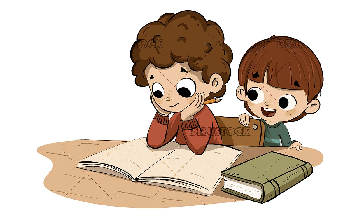 Boy studying with his little brother