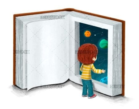 Boy with a book imagination concept