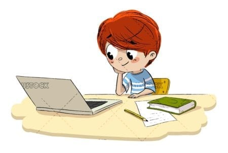 Boy with a computer surfing the internet