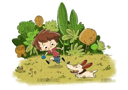 Boy with a dog playing in a park with plants