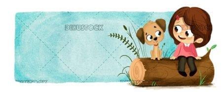 Boy with a dog sitting on a log
