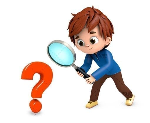 Boy with a magnifying glass solving a mystery