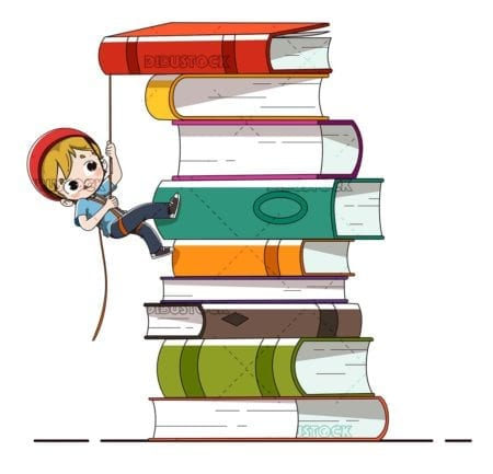 Boy with books climbing. Learning concept