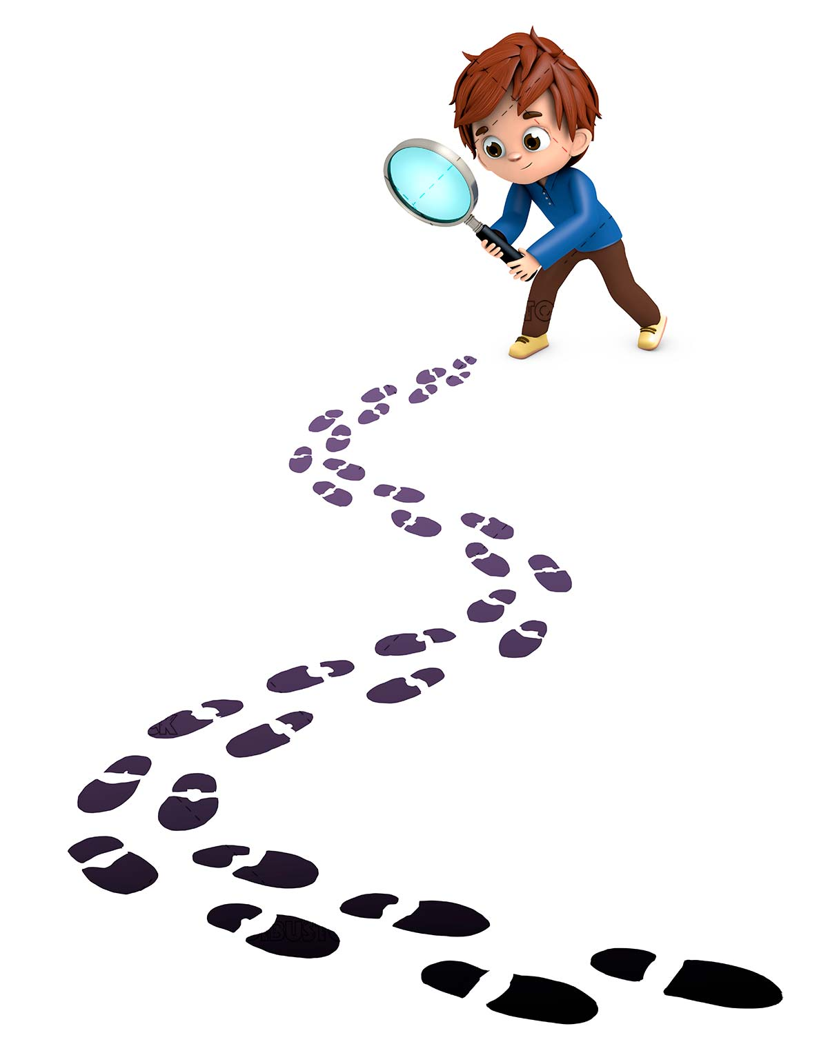 Boy with magnifying glass following footprints