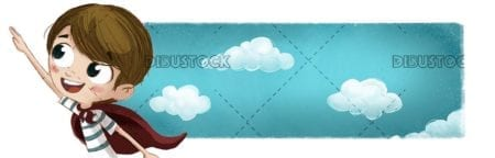 Brave superhero boy with clouds background
