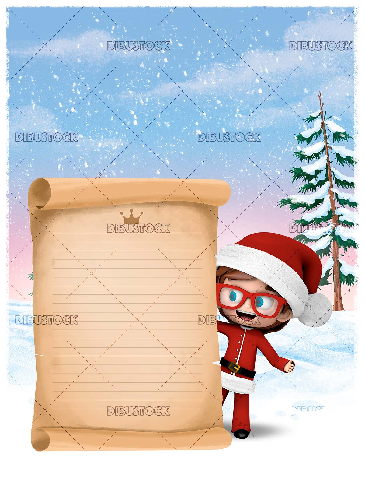 Child Santa Claus with gifts letter in the snow