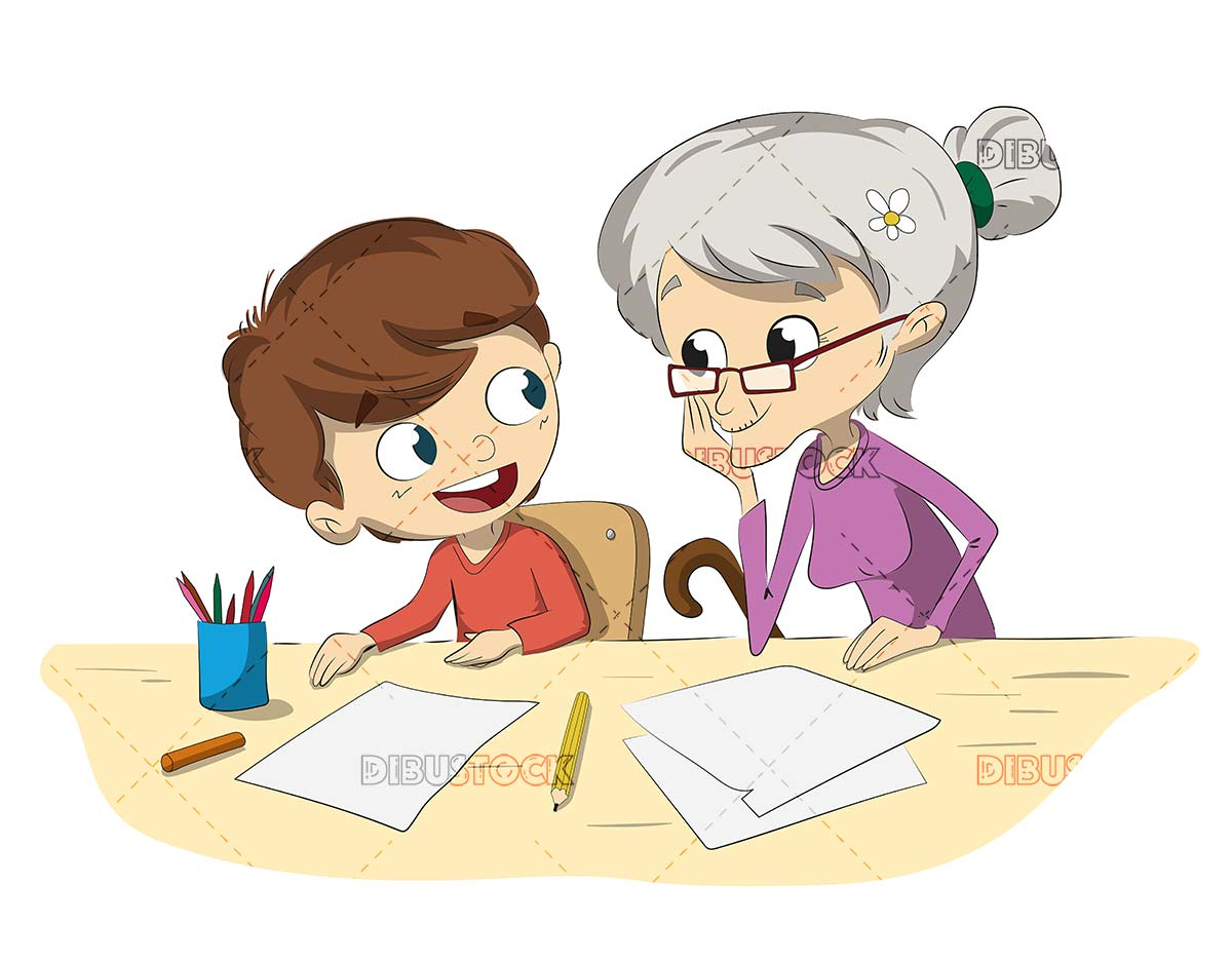 Child and grandmother doing homework