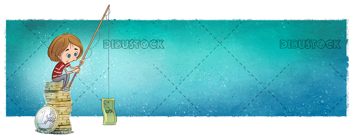 Child fishing money texture background