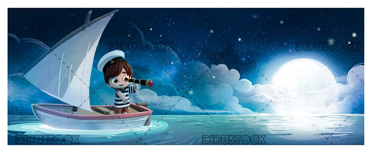 Child in a sailboat at night