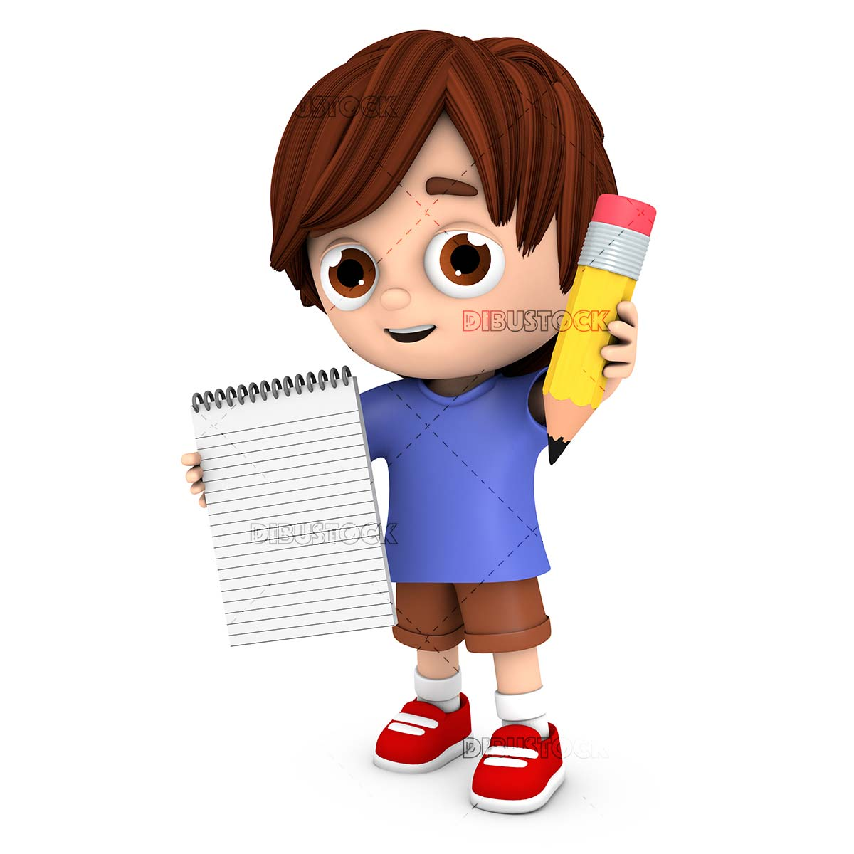 Child with a pencil and a notebook in his hand encouraging to write