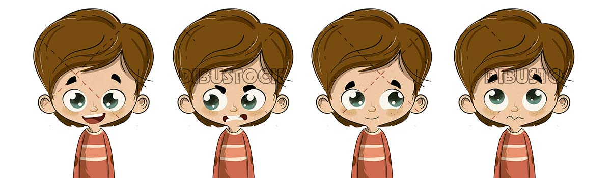 Child with different expressions happy angry calm