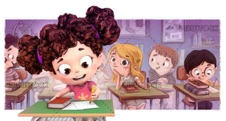 Children at school doing homework