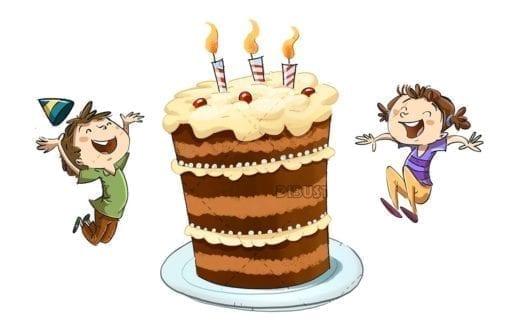 Children celebrating birthday with cake