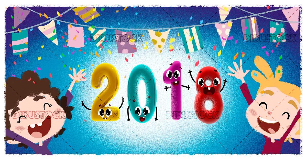 Children celebrating the new year blue