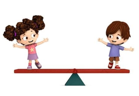 Children on a scale. Concept of equality and integrity