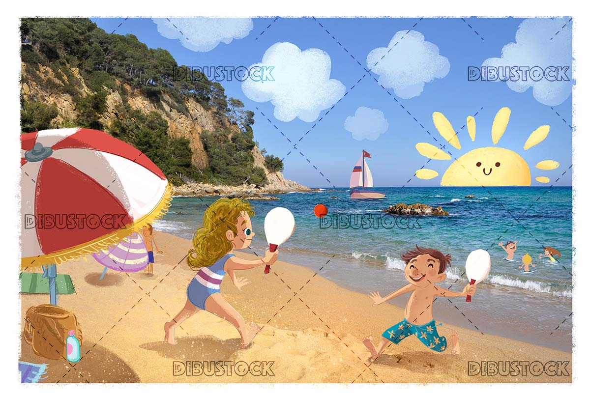 Children playing on the beach in summer