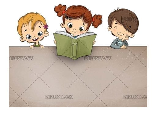 Children reading a book with texture background