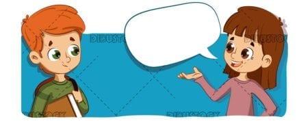 Children talking horizontal vector
