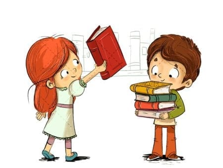 Children with books in a library