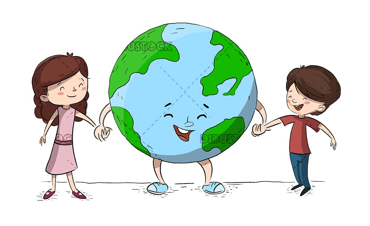 Children with planet Earth. Children taking care of the environment