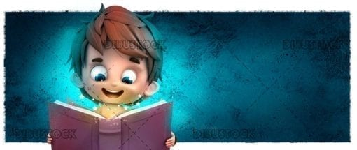 Childs face reading a book