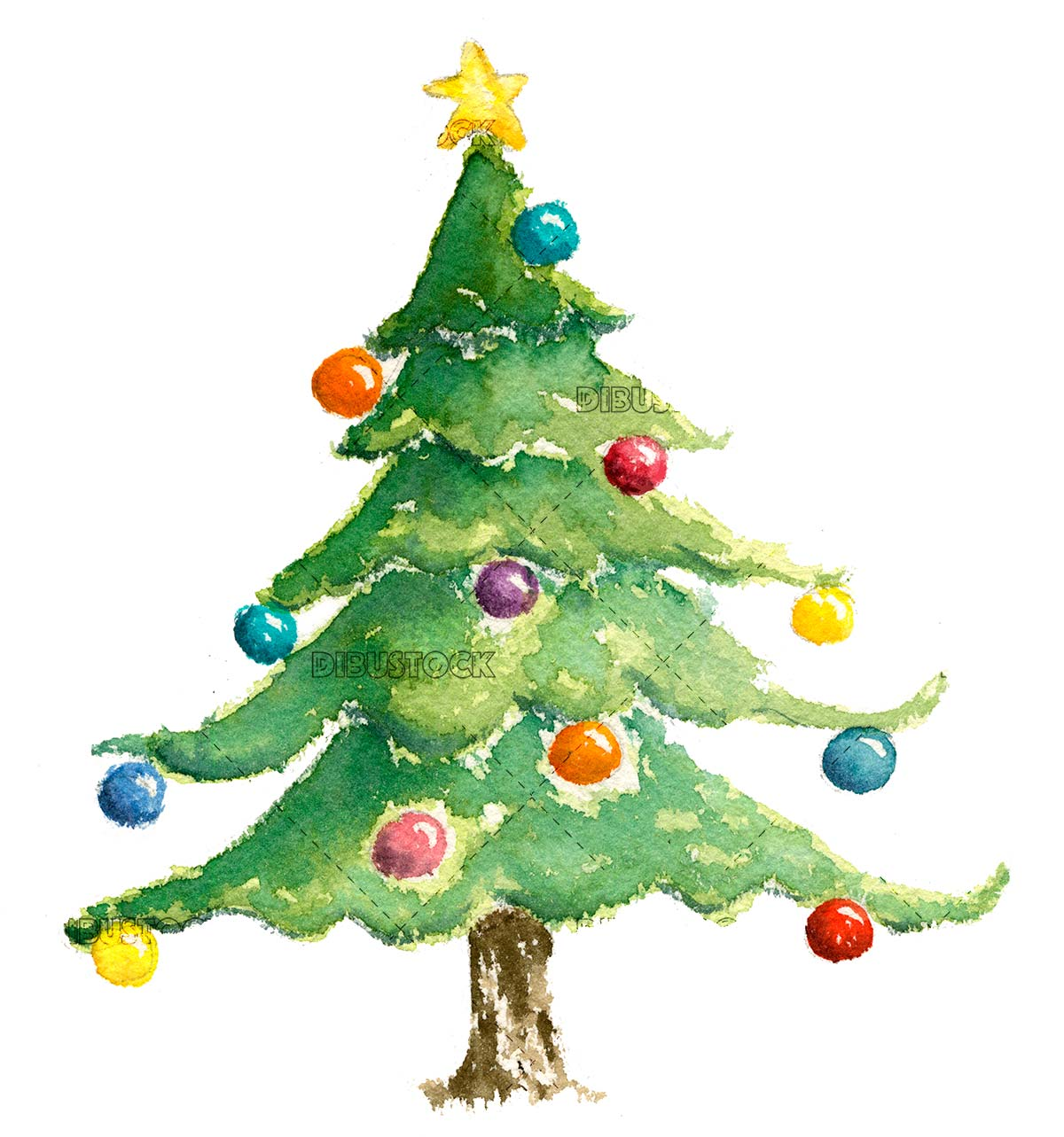 Christmas tree in watercolor