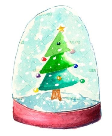 Christmas tree with colored glass ball in watercolor