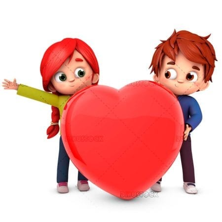 Couple in love with a 3D heart