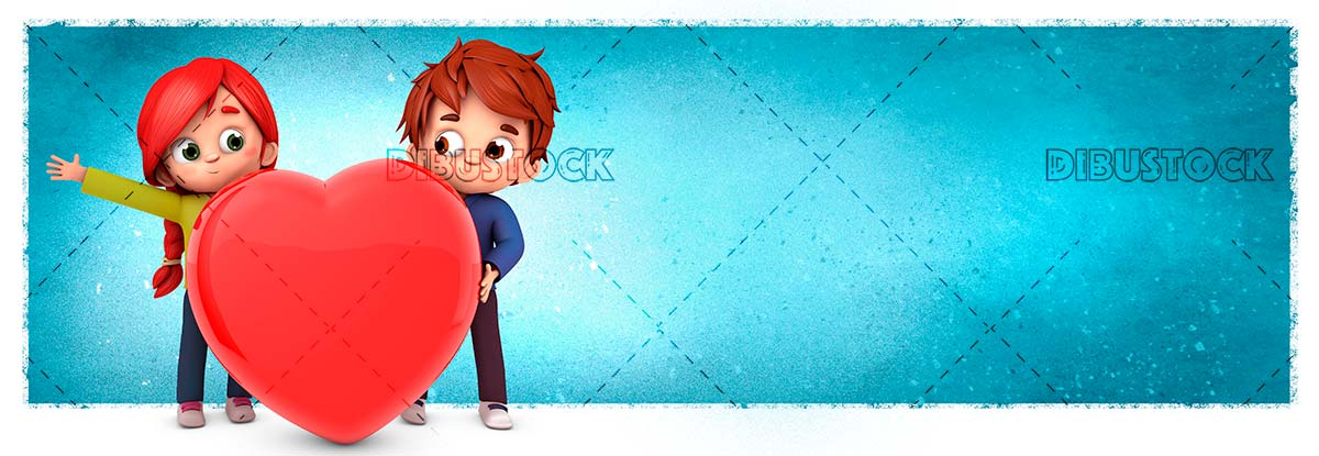 Couple in love with a heart and blue background