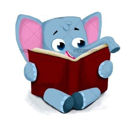 Elephant reading a book