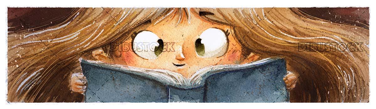 Face of girl reading a book