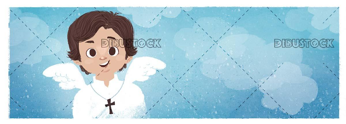 First Communion. Angelic child