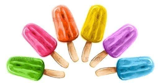 Flavor poles. Ice cream sorbets