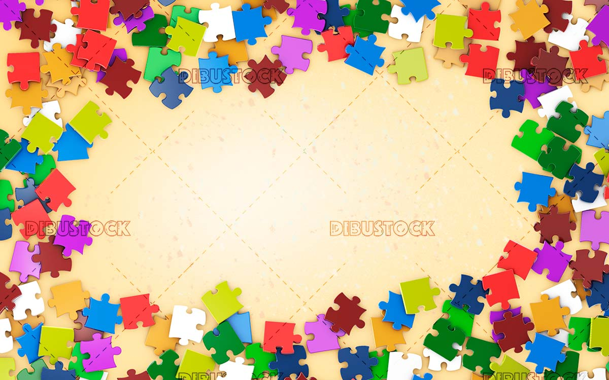 Frame with colored puzzle pieces