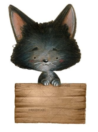 Gato con cartel de madera