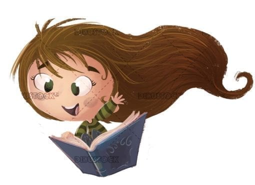 Girl flying with book