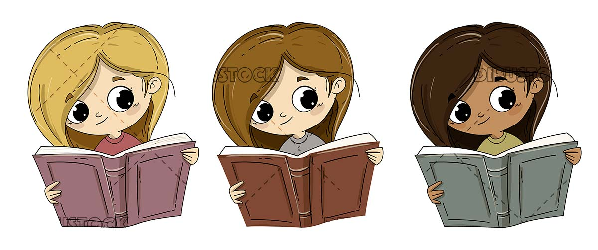 Girl reading a book different races or ethnicities