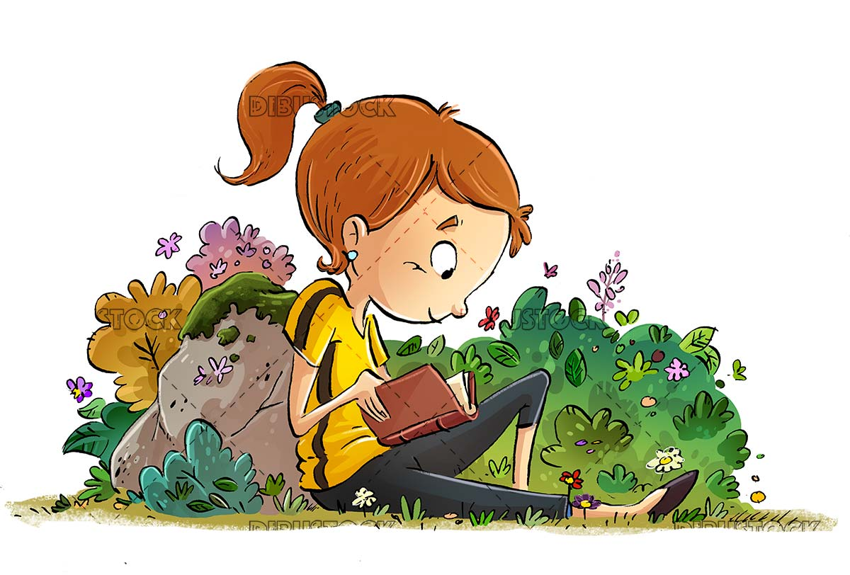 Girl reading a book in nature white background