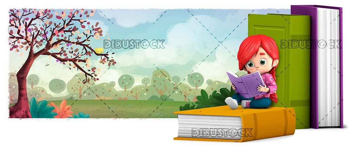 Girl reading a book in the field