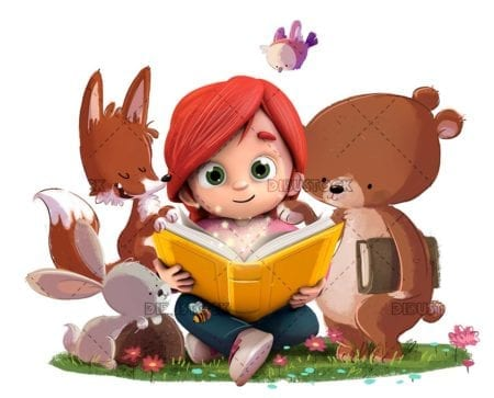 Girl reading a book in the forest with animals