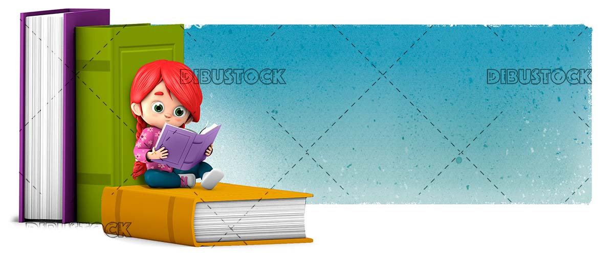 Girl reading a book sitting