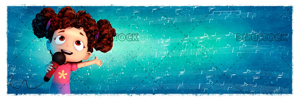 Girl with microphone singing with background