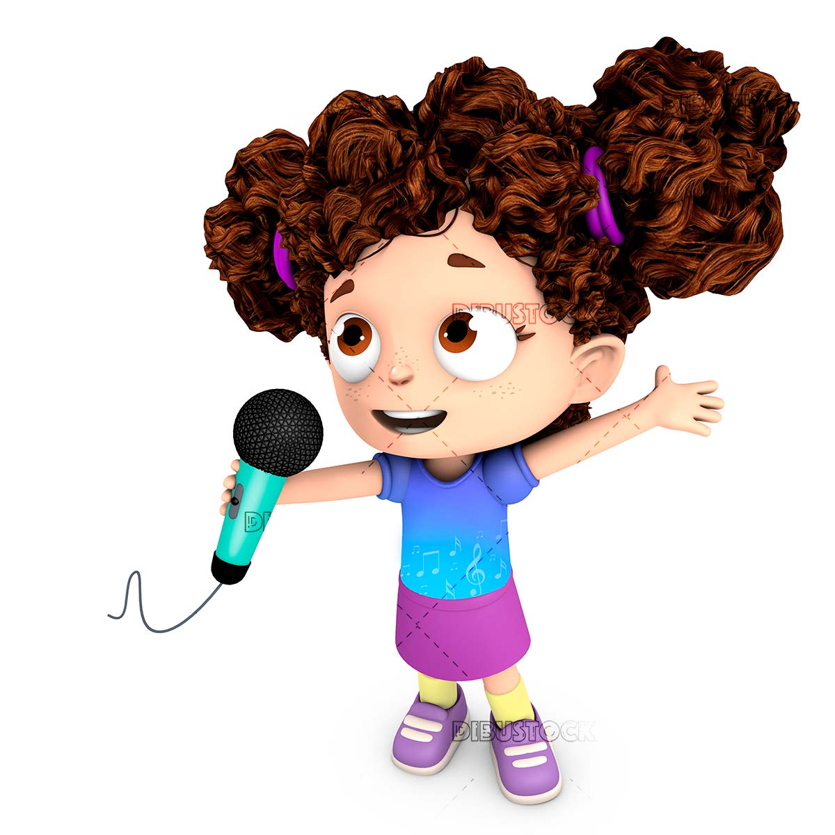 Girl with microphone singing