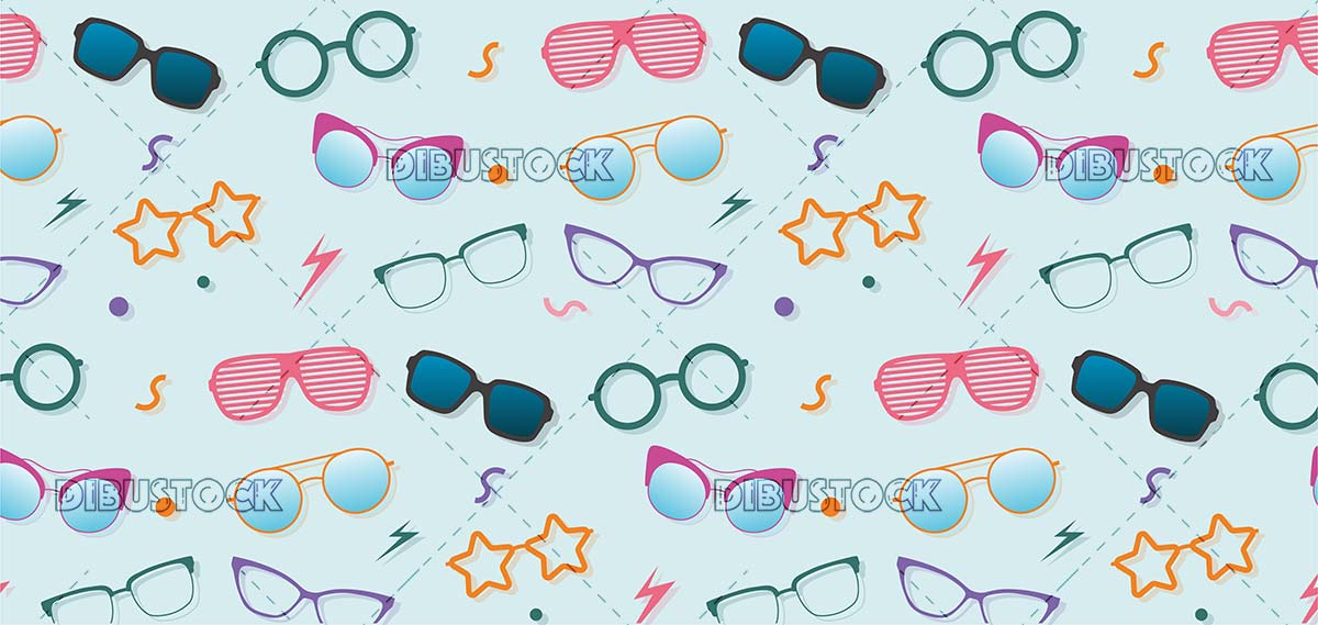 Glasses of different models pattern