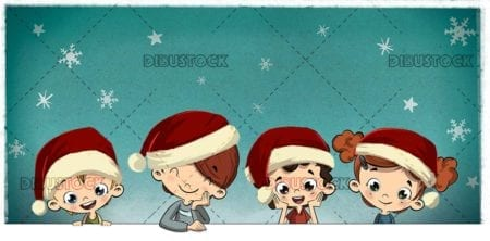 Group of children at Christmas with Santa Claus hats