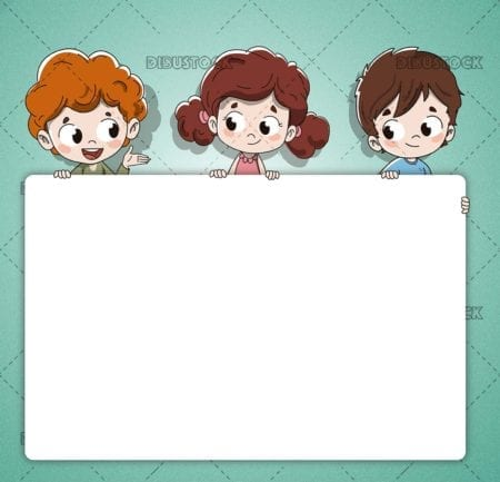 Group of children with a poster or postcard