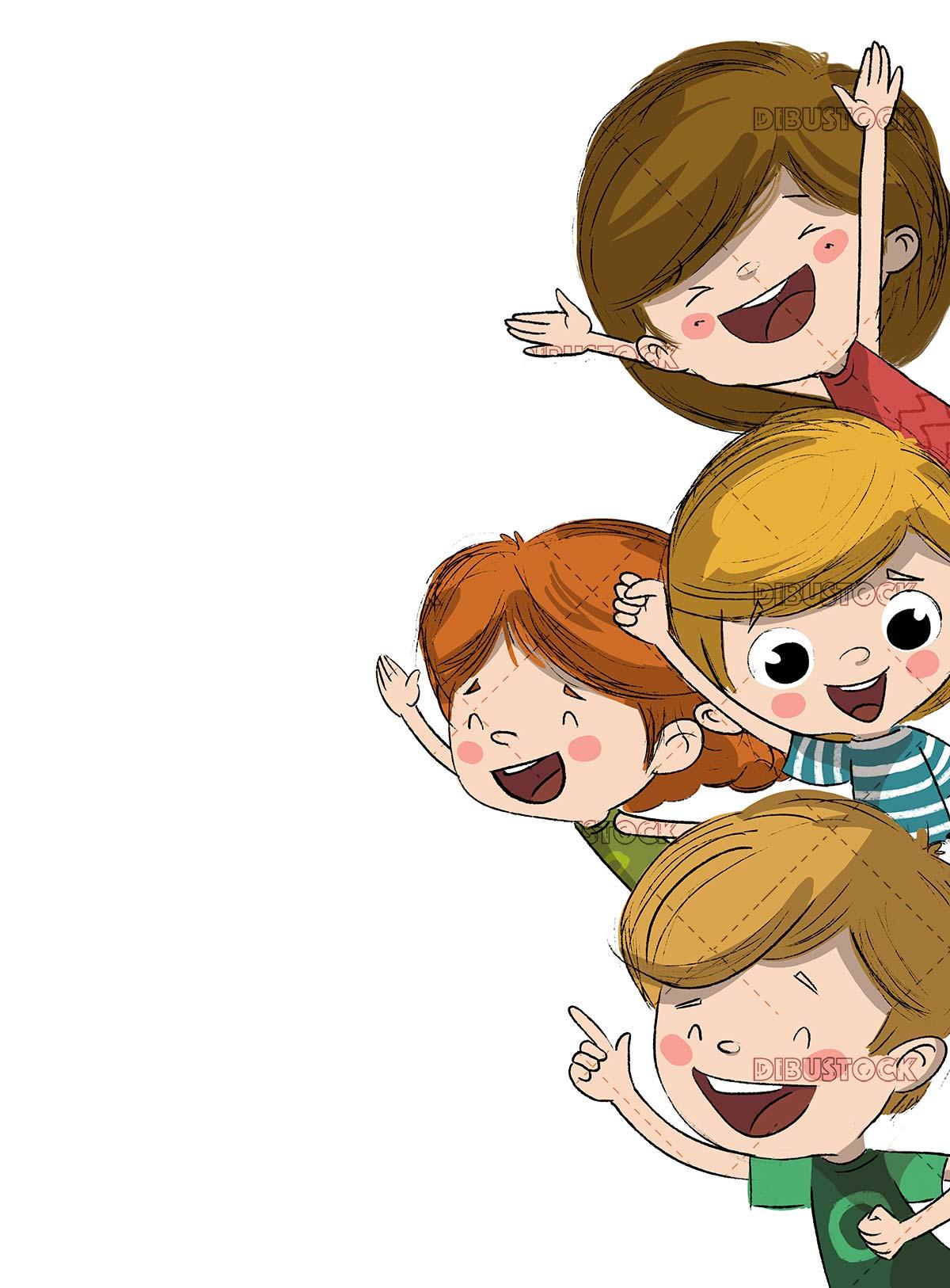 Group of happy children or cheering