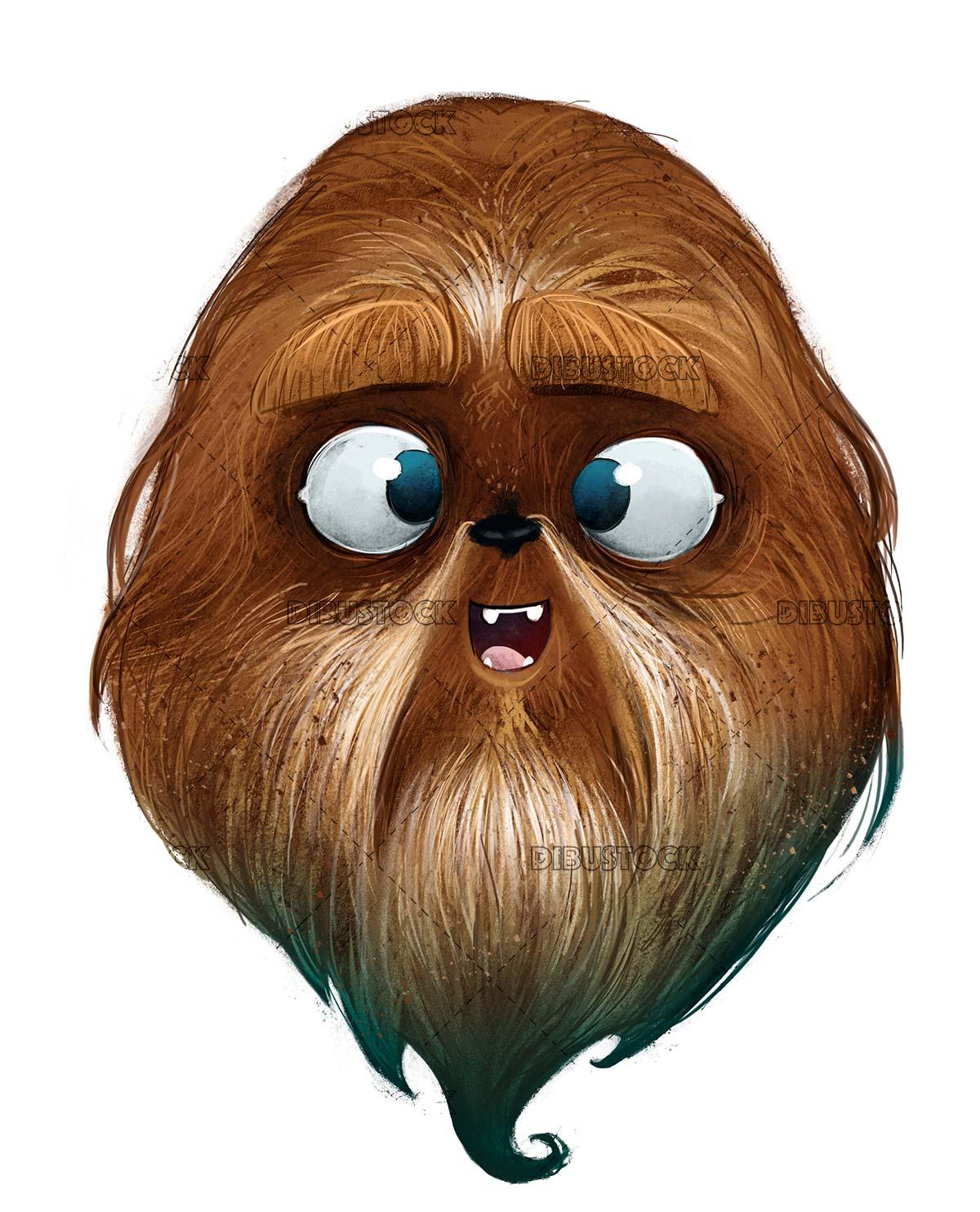 Hairy monster face