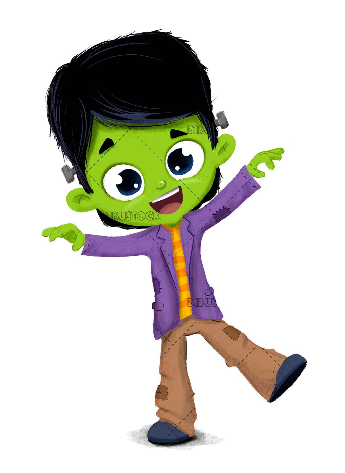 Halloween boy dressed as Frankenstein