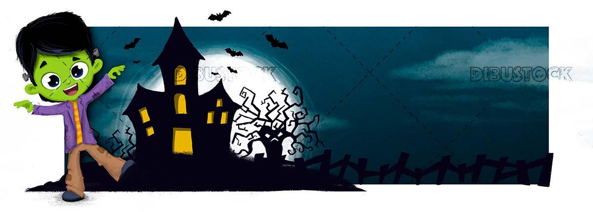 Halloween night with child dressed as frankenstein